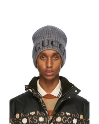 Gucci Blue And Taupe Wool Check Beanie