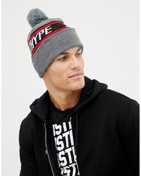 Hype Bobble Beanie With Logo In Grey