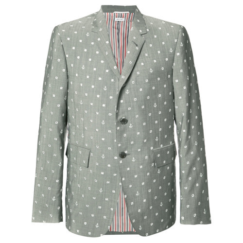 Thom Browne Portal And Anchor Print Blazer Grey