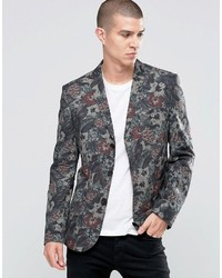 Asos Slim Blazer In Flower Camo Print