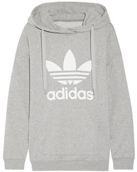 adidas Originals Printed French Cotton Blend Terry Hooded Top Gray