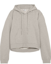 Vetements Printed Cotton Blend Jersey Hooded Top Light Gray