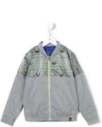 Grey Print Bomber Jacket