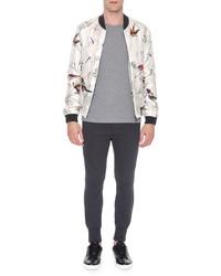Dolce & Gabbana Multi Bird Print Silk Bomber Jacket Gray Pattern