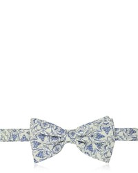 Forzieri Gray And Blue Floral Woven Silk Pre Tied Bow Tie