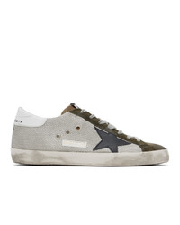 Golden Goose Silver And Khaki Sneakers
