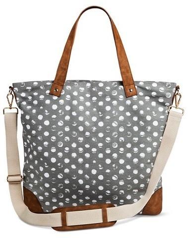 Merona Polka Dot Canvas Tote Handbag With Removeable Crossbody Strap Gray