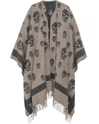 Alexander McQueen Skull Printed Cashmere And Wool Blend Cape Gray