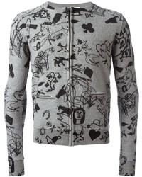 Grey Print Cardigan
