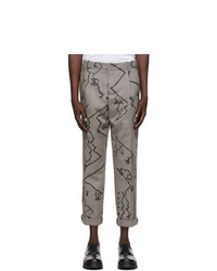 Neil Barrett Grey Herringbone Print Trousers