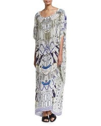 Camilla Printed Embellished Round Neck Maxi Caftan Coverup Singing Wells