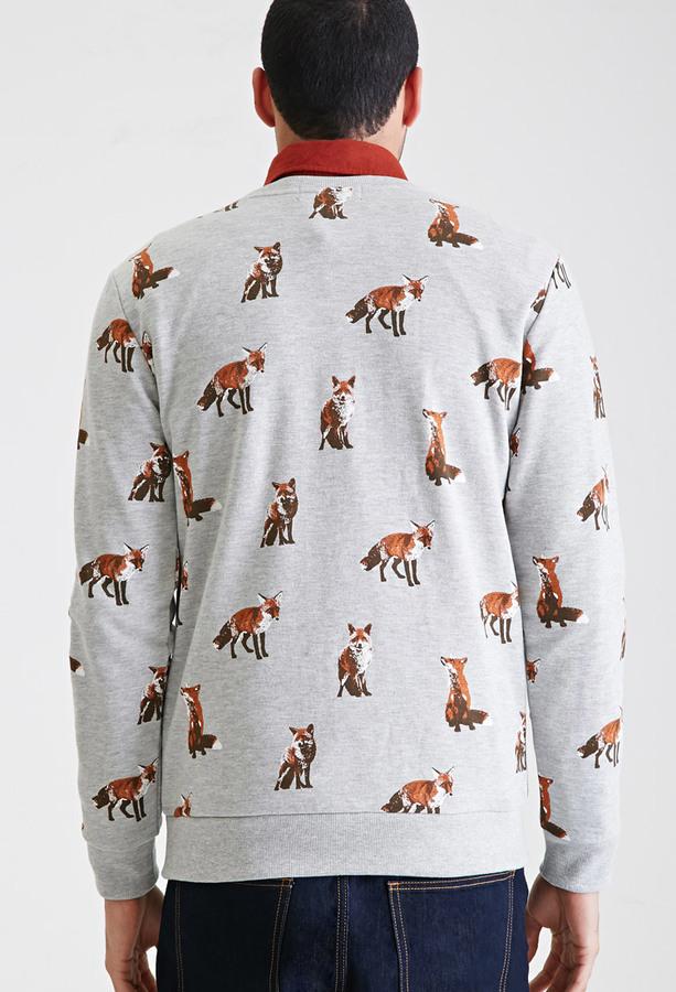 21men 21 Fox Print Sweatshirt