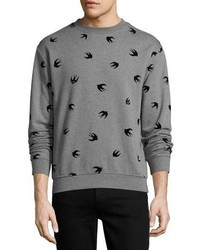 McQ Alexander Ueen Swallow Print Cotton Sweatshirt Gray