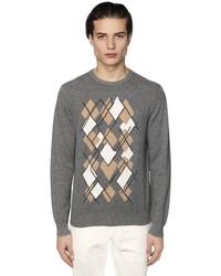 Z Zegna Argyle Intarsia Cashmere Knit Sweater