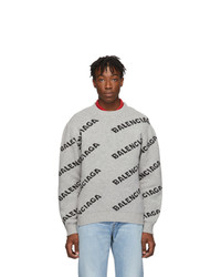 Balenciaga Grey And Black All Over Logo Sweater