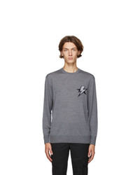 Neil Barrett Grey Bolt Star Sweater