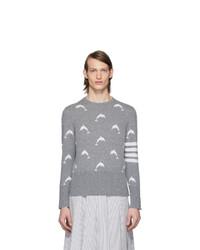 Thom Browne Grey Dolphin Half Drop Crewneck Sweater