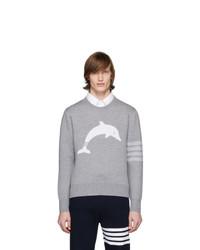 Thom Browne Grey Dolphin Icon 4 Bar Crewneck Sweater