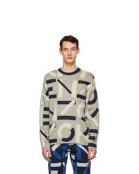 Kenzo Grey Jacquard Monogram Sport Sweater