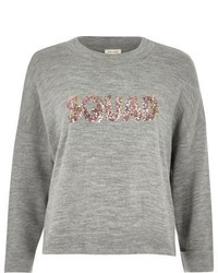 River Island Grey Knit Squad Sequin Sweater