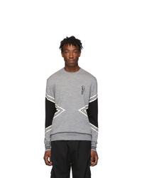 Neil Barrett Grey Modernist Crewneck Sweater