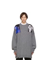 Raf Simons Grey Oversized Patches Sweater