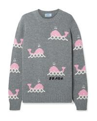 Prada Intarsia Wool And Cashmere Blend Sweater