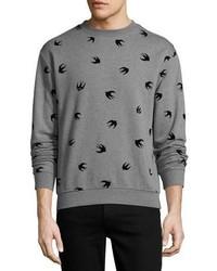 Mcq alexander mcqueen swallow print cotton sweatshirt gray medium 4016172