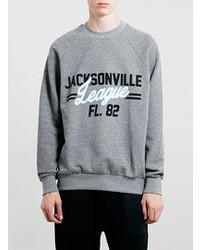 Topman Charcoal Jacksonville Vintage Oversized Sweatshirt