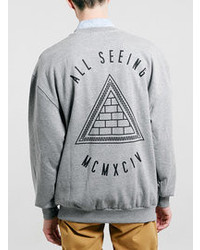 Topman Grey For Real Front And Back Vintage Oversized Sweatshirt