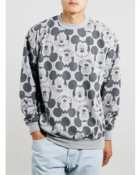 Topman Grey Mickey Face Sweatshirt