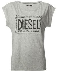 Grey Print Crew-neck T-shirt