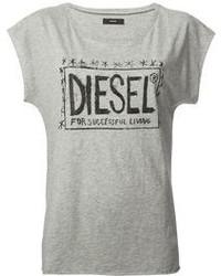 Grey Print Crew-neck T-shirt
