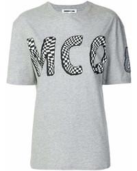 MCQ Alexander Ueen Check Logo Print T Shirt