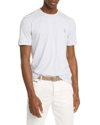 Brunello Cucinelli Athletic Stripe Crewneck T Shirt