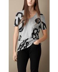Burberry Brit Floral Print Cotton T Shirt