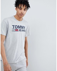 Tommy Jeans Capsule Classics Flag T Shirt In Grey Marl Marl