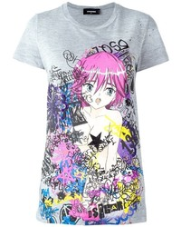 Dsquared2 Graffiti Print Cartoon T Shirt
