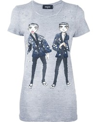 Dsquared2 Manga Print Destroyed T Shirt
