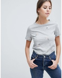 Oasis Floral Embroidered T Shirt