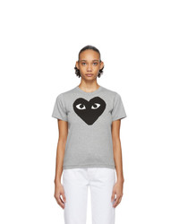 Comme Des Garcons Play Grey And Black Big Heart T Shirt