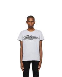 Balmain Grey Bi Color Flocked Logo T Shirt