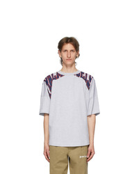 Palm Angels Grey Broken Logo Over T Shirt