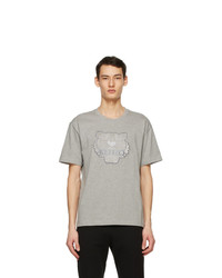 Kenzo Grey Embroidered Velvet Tiger T Shirt