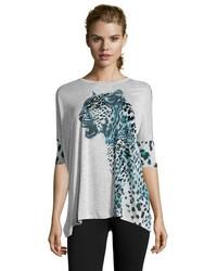 Karen Millen Grey Leopard Print Jersey Knit Tee Shirt
