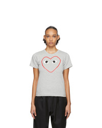 Comme Des Garcons Play Grey Outline Heart T Shirt