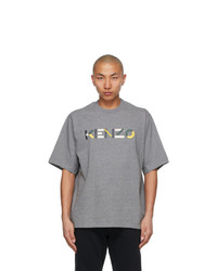 Kenzo Grey Oversized Multicolor Logo T Shirt