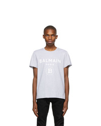 Balmain Grey Print Logo T Shirt