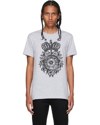 VERSACE JEANS COUTURE Grey Rubber V Emblem T Shirt