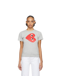 Comme Des Garcons Play Grey Sideways Heart T Shirt